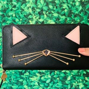 Kate Spade Jazz Things Up Cat Black Wallet